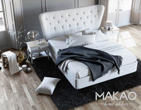 Pikowane łóżko w lekkiej stylizacji